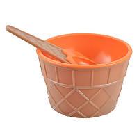 Мороженица с ложечкой Happy Ice Cream, креманка для мороженого, Оранжевая, , Морозивниці, апарати для приготування морозива, Мороженицы, аппараты для