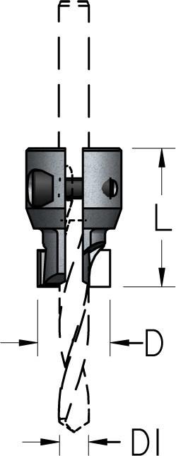 Зенковка прямая сборная для монтажа на корпусе сверла HSS D6÷10/21÷25