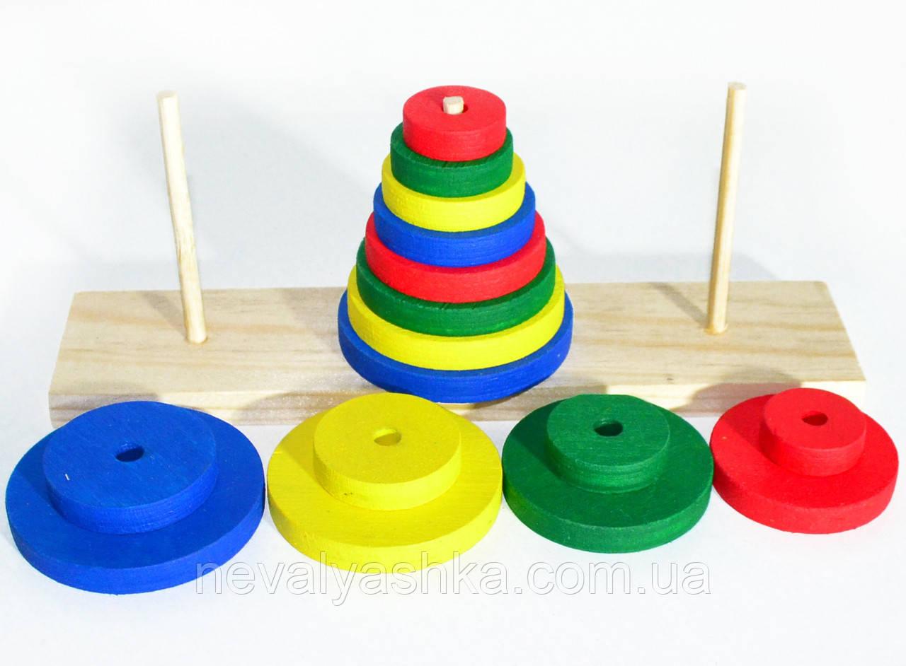 Деревянная игрушка Пирамидка головоломка Ханойская Башня три штыря, Неваляшка 00755 GM04 009879