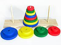 Деревянная игрушка Пирамидка головоломка Ханойская Башня три штыря, Неваляшка 00755 GM04 009879, фото 1