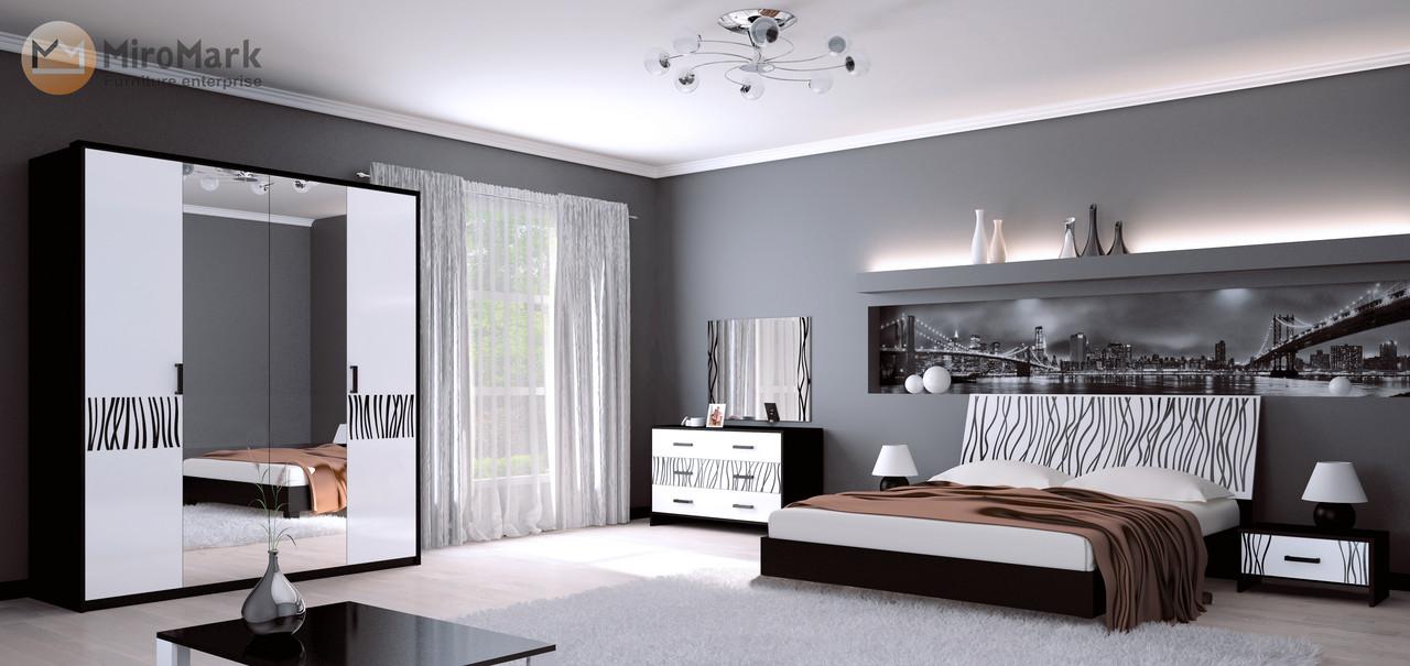Спальня Терра (белый глянец/чёрный мат)