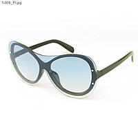 Качественные стильные солнцезащитные очки - Чёрные с голубой линзой - 1-009, фото 1