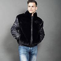 Куртка норковая с кожаными рукавами, фото 1