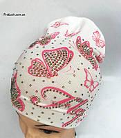 Детская трикотажная шапка на девочку (5-10 лет)