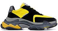 """Мужские Кроссовки Balenciaga Triple S """"Black Yellow"""" - """"Черные Желтые"""" (Копия ААА+), фото 1"""