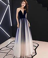 688725911e7 Синее вечернее платье. Платьеомбре в пол. Серое выпускное платье блестящее  в пол.