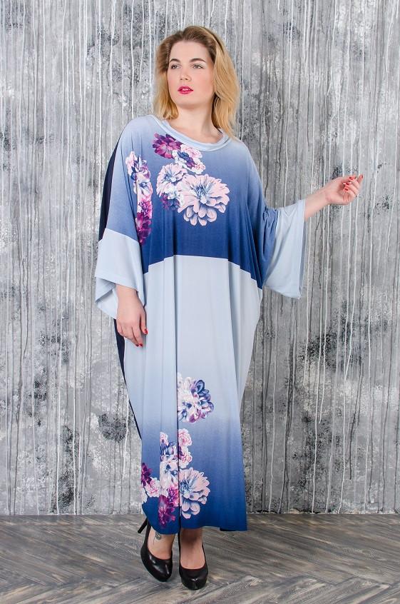 Стильное платье батал Алла голубой принт (60-80)