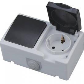 """Розетка накладная одинарная с заземлением с крышкой + выключатель одноклавишный накладной """"ATOM"""""""
