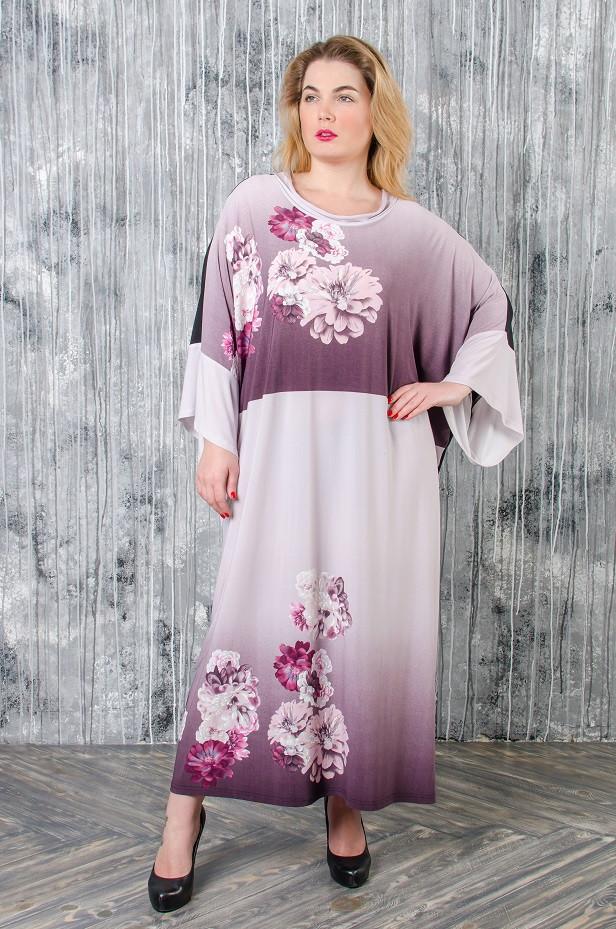 Стильное платье батал Алла сиреневый принт (62-72)