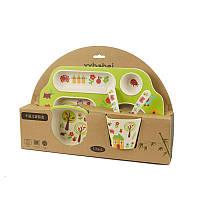 Детская посуда из бамбука, экологическая посуда, для еды, набор 5 предметов, расцветка - Дом в саду, Посуд для дітей, Посуда для детей