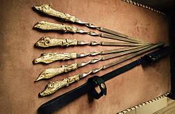 """Шампура ручной работы """"Успешная охота"""" в кожаном колчане, 6шт, фото 2"""