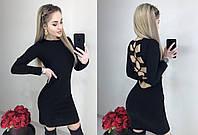 Женское коктейльное платье с открытой спинкой. Расцветки: пудра, черный. (М. 18), фото 1