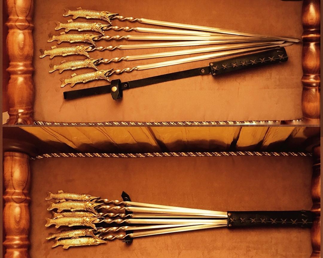 """Набор шампуров для шашлыка """"Царские щуки"""" в колчане из кожи. 6шт"""