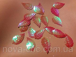 Пайетки березовый лист 1,4х2,5 см красный перламутр 250 грамм