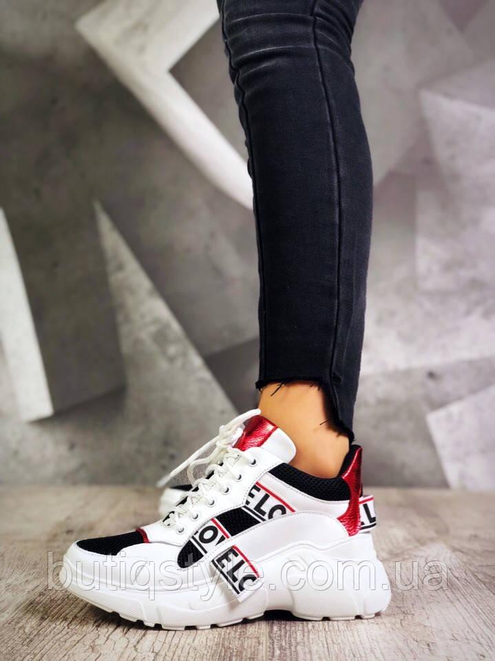 Кроссовки женские Lovely белые с красным и черным на платформе, натуральная кожа+текстиль