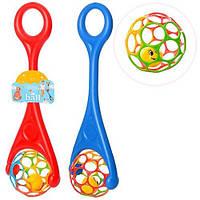 Каталка детская с ручкой Шар 3501: шар с погремушкой, 2 цвета