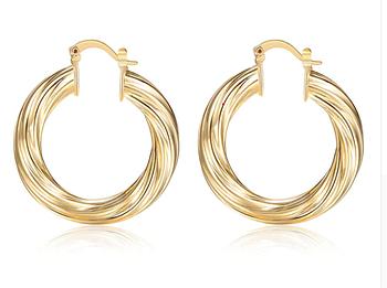 Женские популярные сережки трендовые маленькие серьги кольца золотой цвет бижутерия