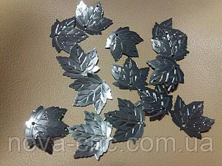Пайетки кленовый лист 2х2 см темное серебро