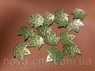 Пайетки кленовый лист 2х2 см салатовый