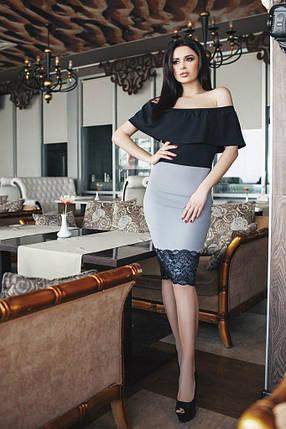"""Нарядное комбинированное платье """"Bristol"""" c кружевом и оголеными плечами , фото 2"""