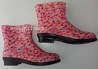 Стильные женские резиновые сапоги / Стильні жіночі гумові чоботи / розовый горошек полусапоги Литма Літма