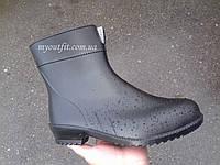 Стильные женские резиновые сапоги / Стильні жіночі гумові чоботи / чёрные полусапоги Литма Літма Litma