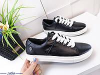 Кожаные кеды на шнуровке 36-40 р чёрный, фото 1