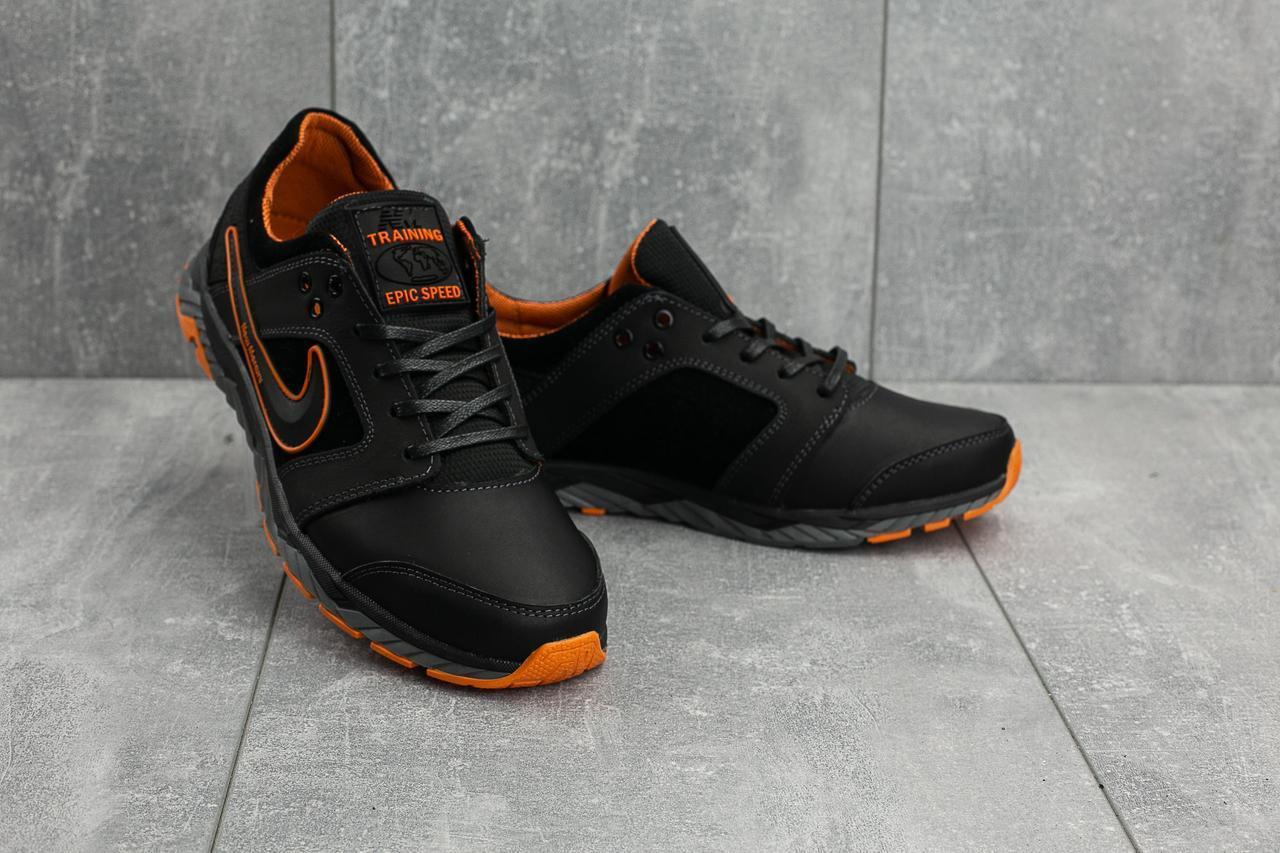 Мужские кроссовки кожаные весна/осень черные-оранжевые New Mercury N8