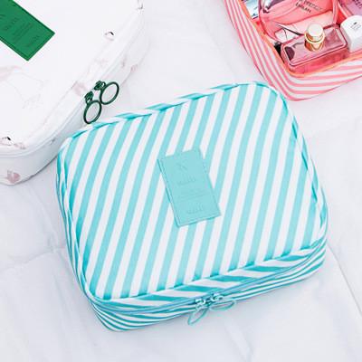 Дорожный органайзер для макияжа Mаkeup pouch Ver.5  бирюзовый в полоску 01029/04
