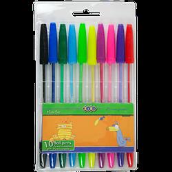 Набір із 10-х кулькових ручок, 10 кол.