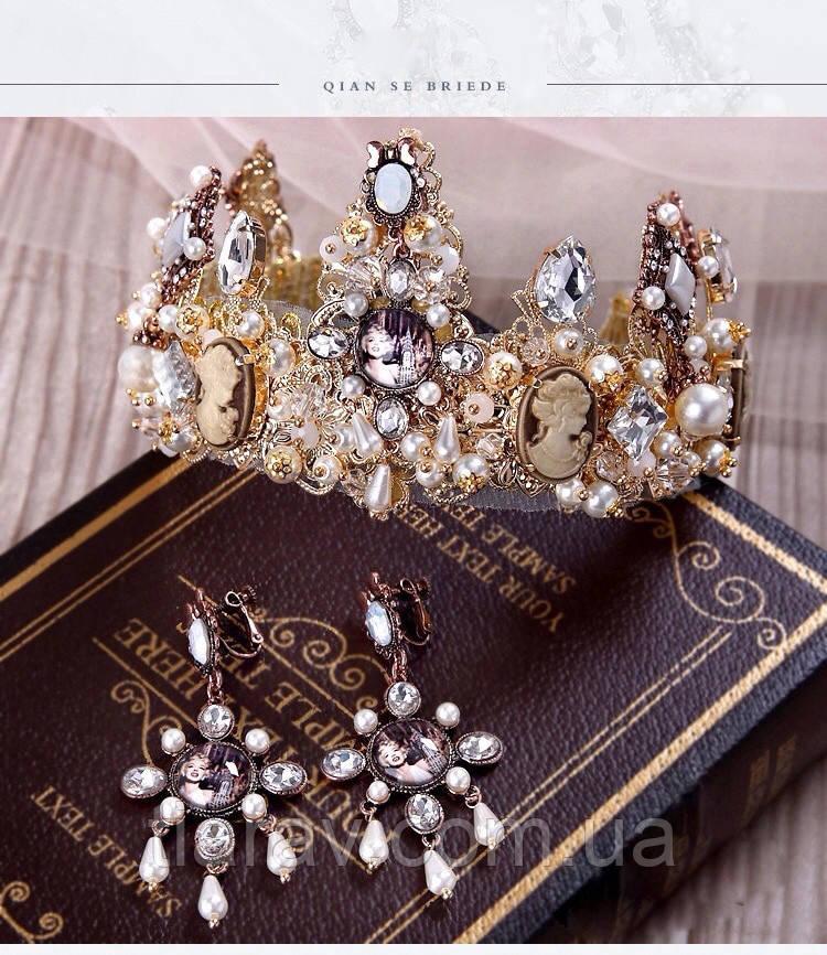 Корона и серьги набор ЭРИКА диадема высокая корона Dolce Gabbana тиары