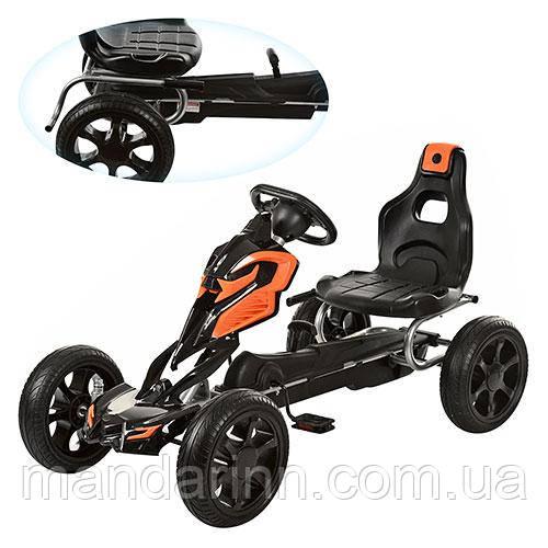 Детская педальная машина веломобиль  КАРТ 1504-2-7 оранжево-черный