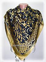 Шелковый платок Афродита, темно синий с золотым