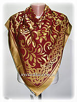 Шелковый платок Афродита, бордовый с золотым