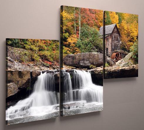Модульная картина природа водопад 90х60