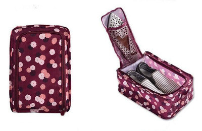 Сумка для обуви на 2 пары мягкая с рисунком Travel бордовая в цветы 01083/02