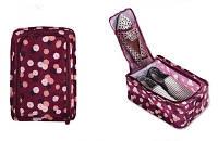 Сумка для обуви на 2 пары мягкая с рисунком Travel бордовая в цветы 01083/02, фото 1