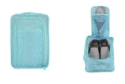 Сумка для обуви на 2 пары мягкая с рисунком Travel голубая в горошек 01083/04