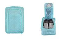 Сумка для обуви на 2 пары мягкая с рисунком Travel голубая в горошек 01083/04, фото 1