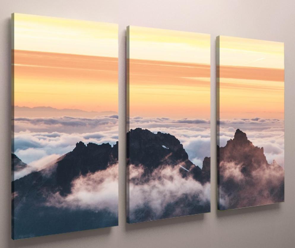 Картина модульная горы туман горы 90х60