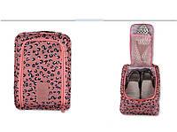 Сумка для обуви на 2 пары мягкая с рисунком Travel Леопард 30х21х11,5 см Розовая (01083/05)