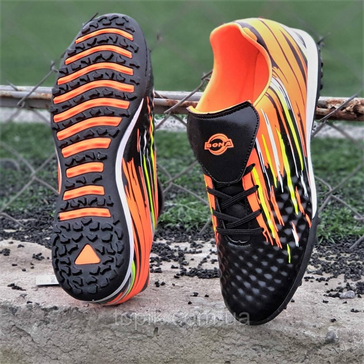 Подростковые сороконожки, бампы, кроссовки для футбола на мальчика черные оранжевые, удобные (Код: 1389а)