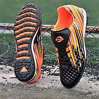 Подростковые сороконожки, бампы, кроссовки для футбола на мальчика черные оранжевые, удобные (Код: 1389а), фото 1