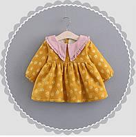 Милое детское платье утепленное плюшем Flower  Акция! Последний размер:  80см-86см