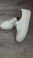 Женские кожаные кеды на шнурках белые р.36-40.