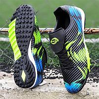 Подростковые сороконожки, бампы, кроссовки для футбола на мальчика черные, мягкая подошва, легкие (Код: 1391а), фото 1