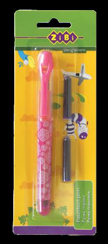 Ручка перова + 2 капсули, рожевий корпус, блістер