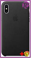 Чехол Apple iPhone XS/X Leather Case (OEM) - Black