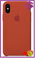Чехол Apple iPhone XS/X Leather Case (OEM) - Orange