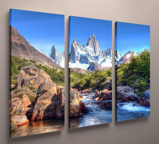 Фото картина модульная природа пейзаж горы река 90х60